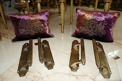 FRENCH ANTIQUE 2 PAIRS (4 pc) LG SIZED BRASS BRONZE ? DOOR PULLS HANDLES CLASSY