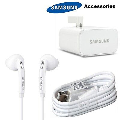 Genuine Samsung Galaxy S7/S6 Note 4/5 Fast Charger Plug, USB Cable & Earphones