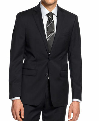 Calvin Klein Slim Fit  Navy Solid Two Button New Men's Sport Coat TS783 Sale