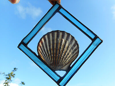 Suncatcher Cape Cod Shells aqua stained glass - by Starlite Journey [aqua3]