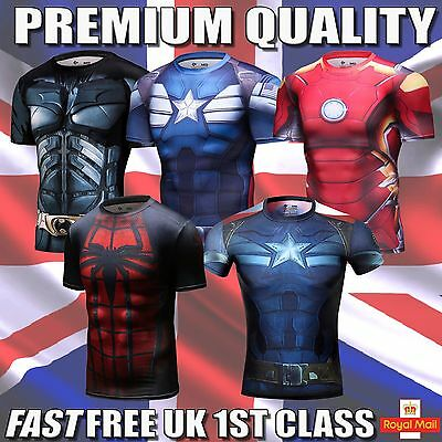 Marvel Avengers Base Layer Short Sleeve Gym Top Superhero Compression Cycling