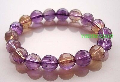 Natural Ametrine Faceted Round Beads Stretch Bracelet 10mm
