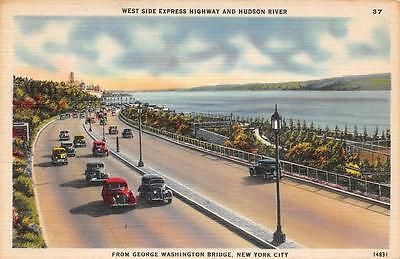 NY, New York City   CARS TRAVELING-WEST SIDE EXPRESS HWY    c1940's Postcard