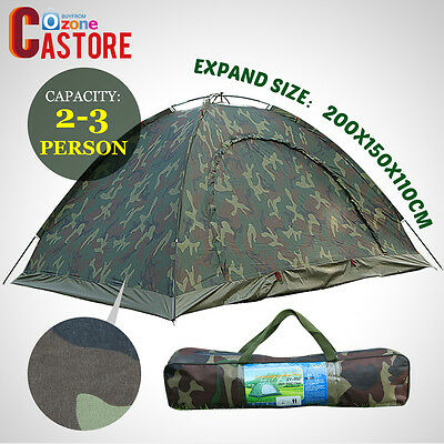 Waterproof 2-3 Person Camo Outdoor Camping Folding Tent Camouflage Hiking