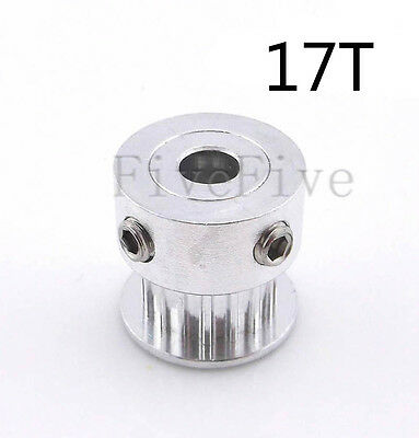 GT2-17T 2mm Pitch 7mm Width  Aluminum Timing Belt Pulley 17 Teeth For 3D Printer