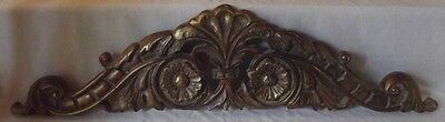 Beautiful Large Vintage Brushed Antique Gold Scroll Wood Topper Pediment 33-1/2""