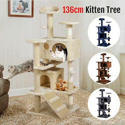 136CM Cat Scratching Poles Tree Kitten Post Pet Tower Gym House Furniture New