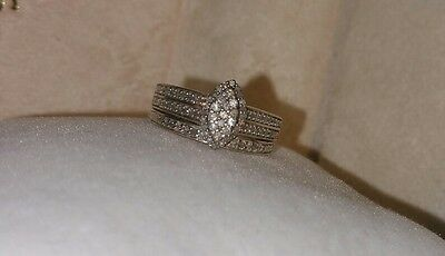 Ross Simons Sterling pave Diamond pre/promise/Engagement Wedding Band ring set