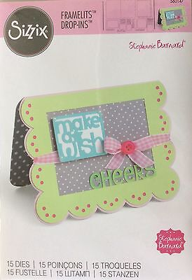 SIZZIX FRAMELITS DROP-INS 15 cutting dies SCALLOP CARD WITH BANNERS & GREETINGS