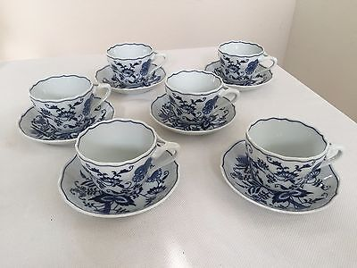 Lot Of 6 Blue Danube Cup And Saucer  Blue Onion Pattern