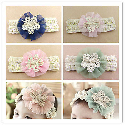 Kids Girls Toddler Baby Cute Lace Flower Elastic Headband Hair Band Accessories