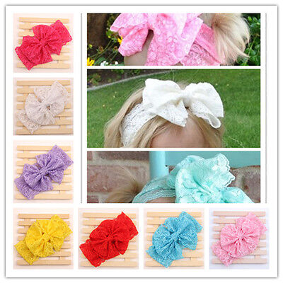 Kids Girls Toddler Baby Cute Big Lace Bow Elastic Headband Hair Band Accessories