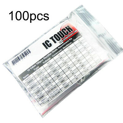 10 Value Kinds 100pcs Rectifier Diode Diodes Assortment Kit Set 50/400/1000V OK