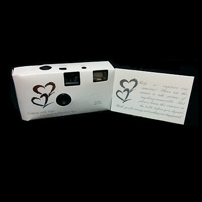 36exp 10 x HEARTS DISPOSABLE WEDDING Bridal CAMERA WITH FLASH