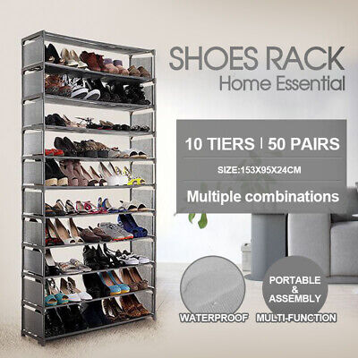 50 Pairs 10 Tiers Portable Stackable Storage Shoe Rack Organiser High Quality
