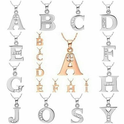 Lover's Gift 18K Jewelry Solid 925sterling Silver Letter A to Z Pendant Necklace