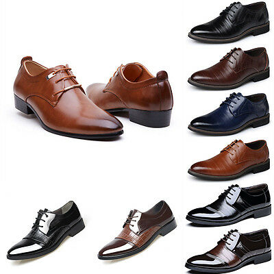 Men's Leather Oxfords Shoes Casual Formal Dress Work Wedding Pointed Toe Shoes