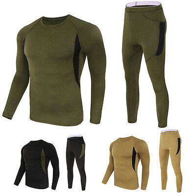 Men's Outdoor Tactical Winter Warm Sports Fleece Underwear Thermal Underclothes