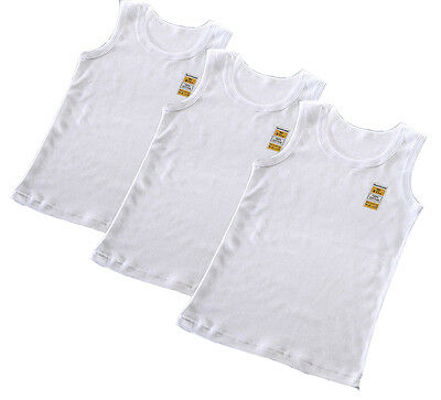 3 In A Pack Boys White Vests * Everyday Wear * 100% Cotton * 2-13 Years