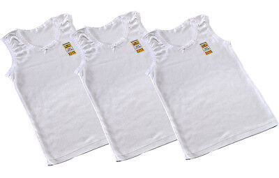 3 In A Pack Girls White Vests * Everyday Wear * 100% Cotton * 2-13 Years