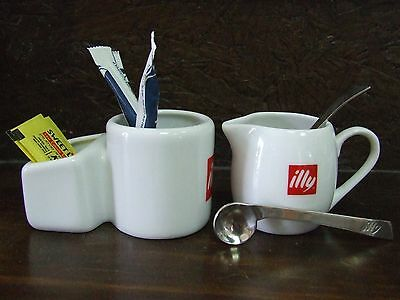 NEW 2016 2pcs of 2008 Collection Spoons & Sugar Holder & Milk Pitcher ILLY Set