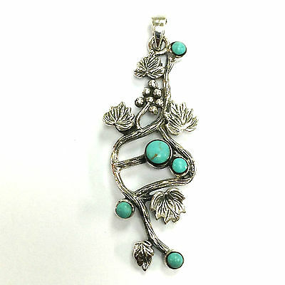 Stunning Art Nouveau Floral Sterling Silver Turquoise Pendant Hallmarked