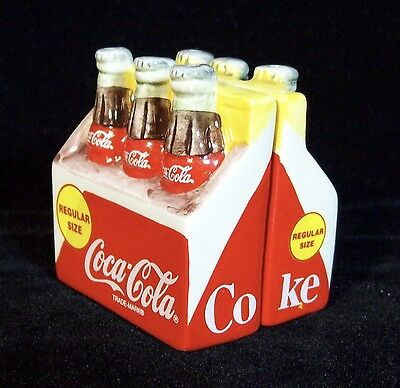 COCA COLA Six Pack Salt & Pepper Shakers With Box #270059 1996
