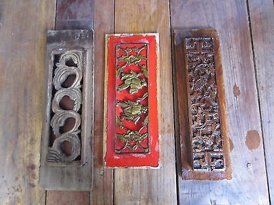 3 Antique/vintage Asian Architectural Red & Gold Wood Carved Panels