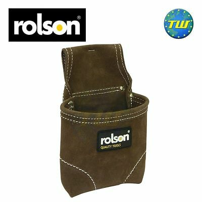 Rolson Heavy Duty Double Stitch Leather Suede Nail Screw Fixing Tool Belt Pouch