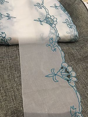 10.5cm width White Embroidery Blue Line Lace Trim Sewing Craft Per Meter