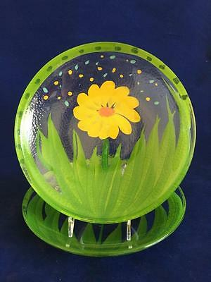 """2 - 8 1/4"""" Glass Plates Yellow Flower, Green Grass Made in Italy"""