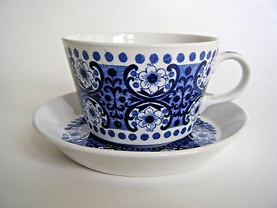 Arabia Finland Blue And White Cup & Saucer Set