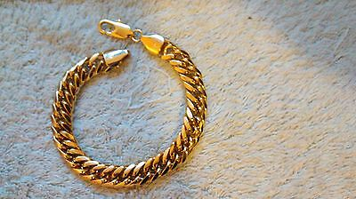 Gold Plated 23cmL 11mmW No Stone Chain Bracelet  Men Dad Boyfriend Birthday Gift