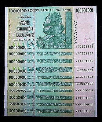 10 x Zimbabwe 1 Billion Dollar banknotes-currency-About UNC & consecutive