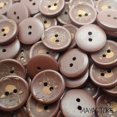 20Mm Retro Teddy Bear Wood Buttons In Brown Baby Children's Handmade New