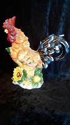 Large Colorful Rooster Pitcher 12""
