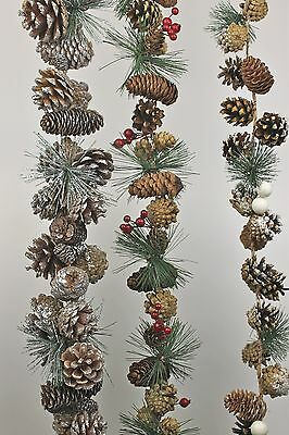 Gisela Graham Christmas Silver Glitter Natural Snowy Cone Berry Garland