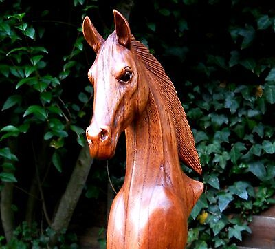 Amazing Quality Carved Wooden Horse Head Bust 30 cm Brown Handmade Home Decor