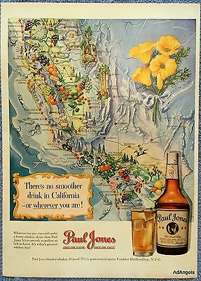 1950 Paul Jones Whiskey Map California Yellow Poppy State Flower Agriculture ad