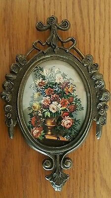 Vintage Oval Brass Framed Picture Floral Flowers  Cheswick Action Made in Italy