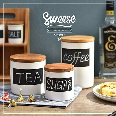 Ceramic Chalkboard Canisters Label Kitchen Storage Canister Set Airtight 3 Piece