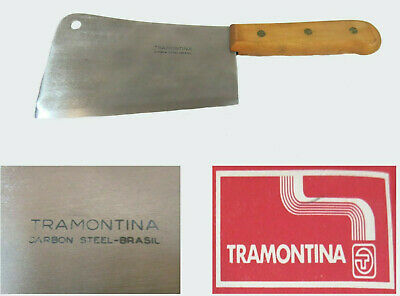 "Vintage Butcher Knife by Tramontina Meat Cleaver 7"" Carbon Steel Wooden Handle"