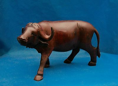 Hand Carved Wooden Wildebeest 6.5 inches Long 4 inches Tall