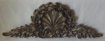 Lovely Vintage Brushed Antiq Gold Acanthus Shell & Fern Wood Topper Pediment 21""