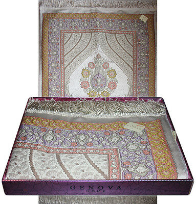 Islamic Large Wide Luxury Embroidered Prayer Mat Gift Box Set 'Jacobean' Tulip