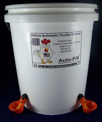 4 Drinker Cups 5 Gallon Automatic Chicken Poultry Bird Waterer - Manual FIll