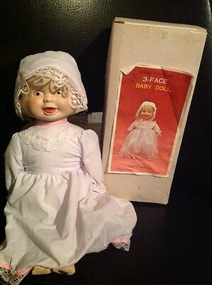 """Vintage 3 Three Faces Baby Doll Bisque Head, Arms Feet Cloth Body 12"""" Taiwan"""