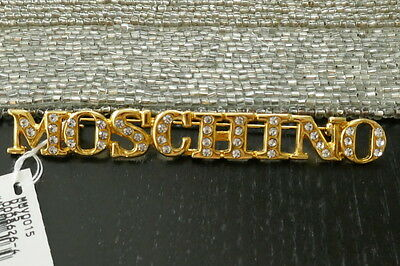 Moschino Bijoux Brooch Pin With Crystal Logo Comes With Tag