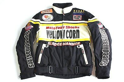 RARE VTG YELLOW CORN JAPAN mens MOTORCYCLE BIKER JACKET TONY RACING