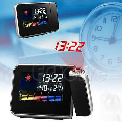 Digital LCD Screen Weather Station Forecast Calendar Projector Alarm Clock D#